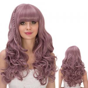 Long Fluffy Neat Bang Wavy Synthetic Lolita Wig