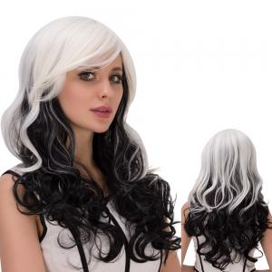 Long Ombre Inclined Bang Wavy Synthetic Lolita Wig - White And Black