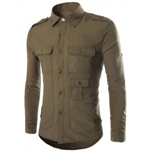 Turn-Down Collar Multi-Pocket Epaulet Design Long Sleeve Shirt