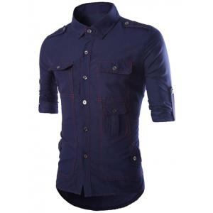Turn-Down Collar Multi-Pocket Epaulet Design Long Sleeve Shirt - Cadetblue - M