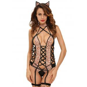 Lace Up Leopard Fever Kitten Cosplay Halloween  Costume
