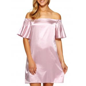 Off Shoulder Flounce Mini Satin Cocktail Dress