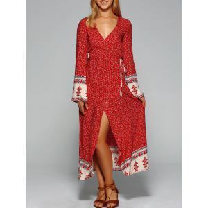 Maxi Bell Sleeve Floral Wrap Dress - Red - S