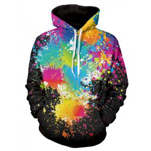 Paint Splatter Print Long Sleeve Pullover Hoodie - Black - Xl