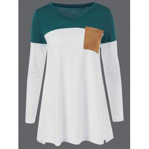 V Neck Elbow Patch T-Shirt - Colormix - Xl
