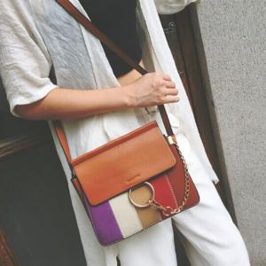 Metal Ring Color Block Shoulder Bag