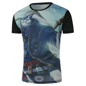 Round Neck 3D Cartoon Panda Print Character T-Shirt