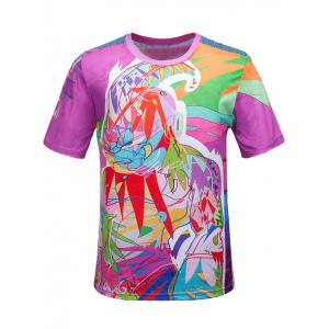 Round Neck 3D Color Block Scrawl Print Short Sleeve T-Shirt