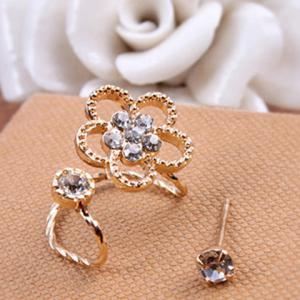 2PCS Rhinestone Floral Earrings Set
