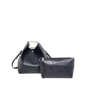 PU Leather Magnetic Metal Shoulder Bag - Black - 44