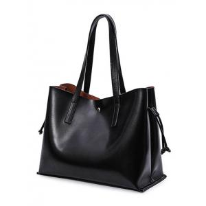 PU Leather Drawstring Magnetic Closure Shoulder Bag