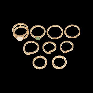 9 PCS Gold Plated Faux Gemstone Rings