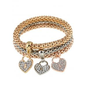3 PCS Brief Rhinestoned Heart Bracelets