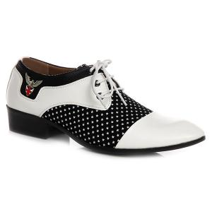 Tie Up Splicing Metal Formal Shoes - White And Black - 40