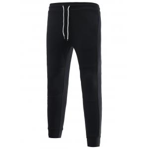 Skinny Drawstring Waist Spliced Jogger Pants