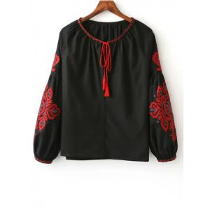 Tie Neck Long Sleeve Embroidered Blouse