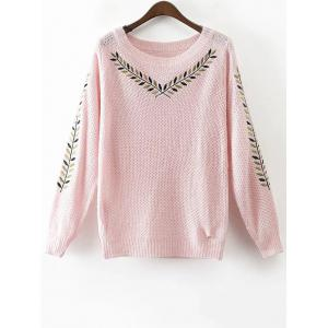 Round Neck Embroidered Sweater - Pink - M