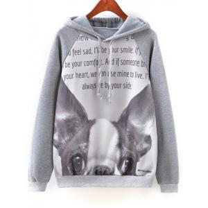 Cartoon Letter Print Hoodie - Gray - M