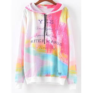 Tie-Dyed Colorful Letter Print Hoodie - Multi - M