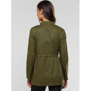 Flap Pockets Drawstring Utility Jacket -