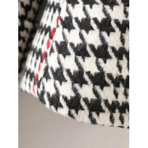 Lapel Big Pocket Houndstooth Coat -