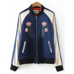 Floral Embroidered Sporty Jacket - BLUE L