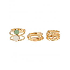 9 PCS Gold Plated Faux Gemstone Rings - GOLDEN