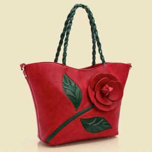 Color Splicing Rose Stitching Shoulder Bag -