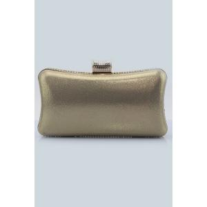 Beading Metal Trimmed Clutches - BEIGE