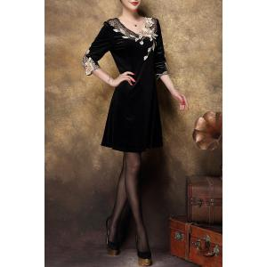 Velvet Swing Dress With Applique - GOLDEN XL