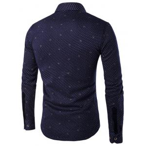 Turn-down Collar Fleece Lined Polka Dot Print Shirt -