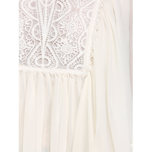 Butterfly Sleeve Lace Patchwork Smock Blouse -