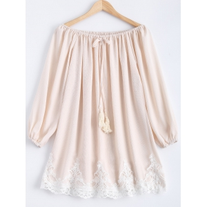 Off-The-Shoulder Laciness Tassel Dress - APRICOT XL