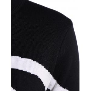 Two Toned Ribbed Hem Knitted Pullover - WHITE AND BLACK M