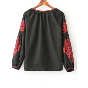 Tie Neck Long Sleeve Embroidered Blouse - BLACK L