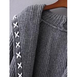 Hooded String Cable Knit Cardigan -
