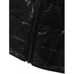 Topstitching Hooded Quilted Winter Jacket - BLACK S