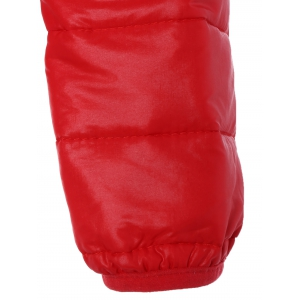 Topstitching Hooded Quilted Winter Jacket - RED M