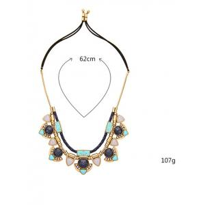 Faux Turquoise Layered Geometric Pendant Necklace -