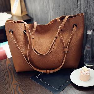 Magnetic Textured Leather Shoulder Bag -