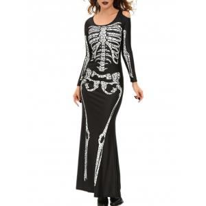 Skull Print Halloween Witch Cosplay Costume -