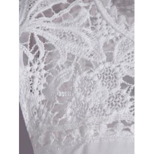 Openwork Lace Spliced Shirred Tank Top - WHITE 4XL