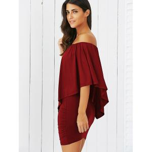 Overlay Off-The-Shoulder Bodycon Mini Dress - WINE RED S