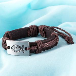 Faux Leather Woven Engraved Jesus Bracelet - BROWN