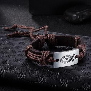 Faux Leather Woven Engraved Jesus Bracelet -