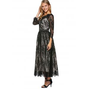 Lace Scalloped Long Evening Dress with Sleeves - BLACK L