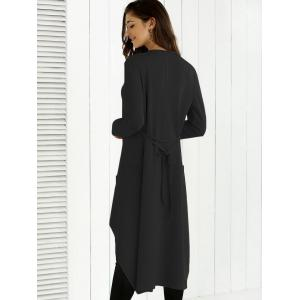 Tie Back Asymmetrical Trench Coat - BLACK XL