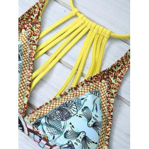 Strappy Tropical Print Bikini Set -
