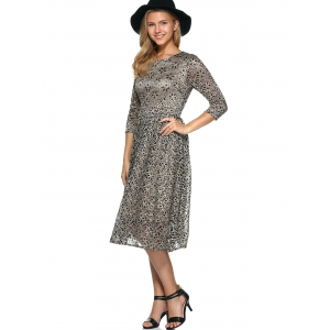 Rhinestone Embroidery Lace Dress - KHAKI XL