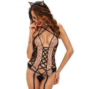 Lace Up Leopard Fever Kitten Cosplay Halloween  Costume - LEOPARD L